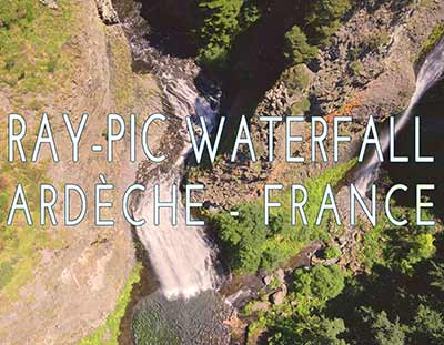 Ray-Pic Waterfall, flight in the heart of the regional natural park of Monts d'Ardèche. Nature video, environment, exceptional site in France